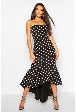 Polka Dot Bandeau Fishtail Maxi Dress