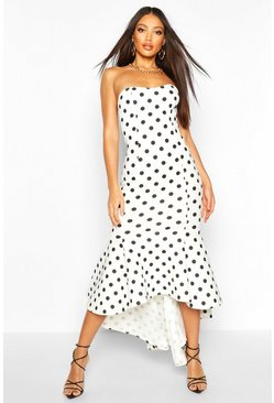 White Polka Dot Bandeau Fishtail Maxi Dress