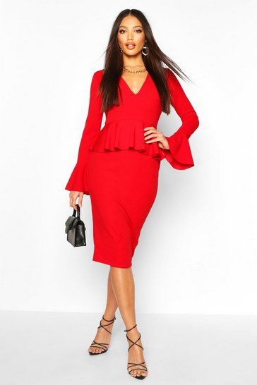 Womens Red Flared Sleeve Peplum Midi Dress