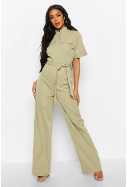 Womens Sage High Neck Utility Jumpsuit
