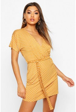 Mustard Polka Dot Tie Waist Wrap Tea Dress