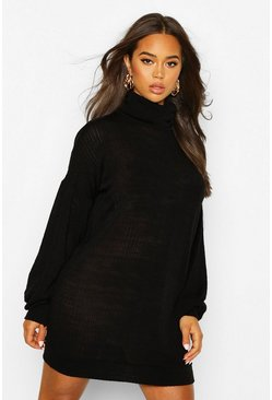 Black Slouchy Roll Neck Sweatshirt Dress