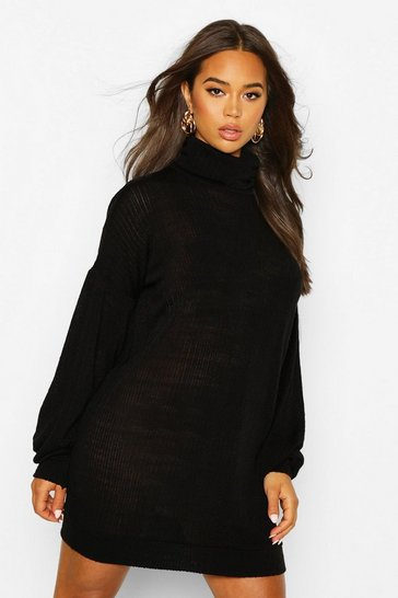Slouchy Roll Neck Sweatshirt Dress