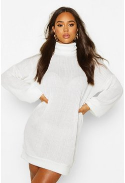 Off white Slouchy Roll Neck Sweatshirt Dress