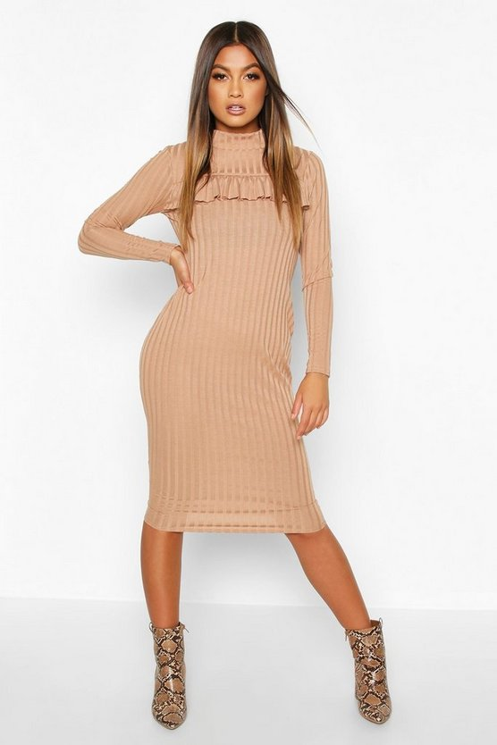 Womens Camel Rib High Neck Ruffle Long Sleeve Midi Dress