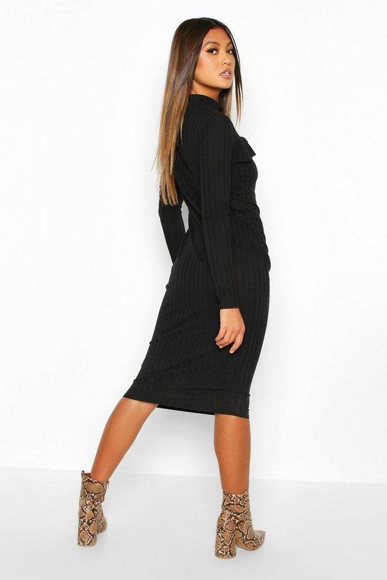 Rib High Neck Ruffle Long Sleeve Midi Dress