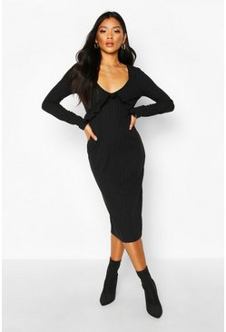 Black Rib Ruffle Long Sleeve Midi Dress