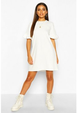 Dam White Stripe Ruffle Sleeve Smock Dress