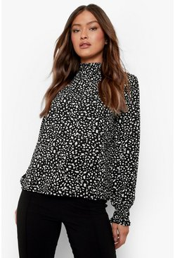 Black Smudge Print High Neck Sheered Blouse