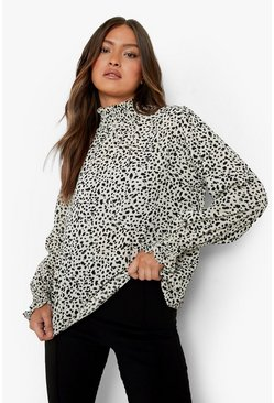 Cream Smudge Print High Neck Sheered Blouse