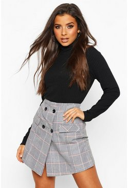Grey Button Front Check Tailored Skort