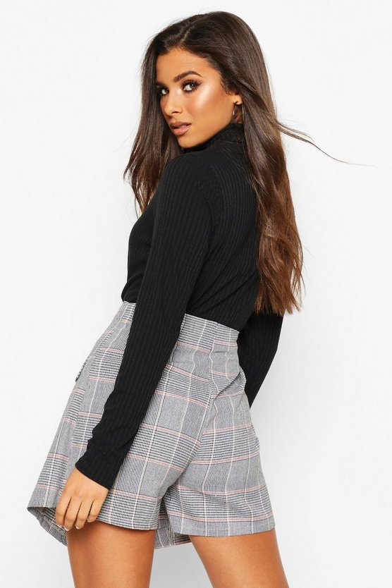 Button Front Check Tailored Skort