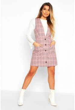 Womens Red Check Button Down Pinafore Dress
