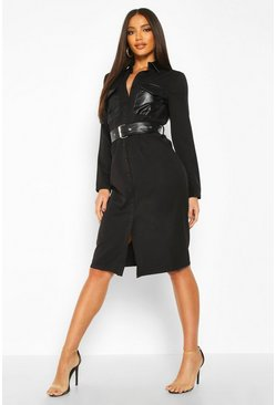 Womens Black Tailored PU Pocket Belted Shirt Midi Dress