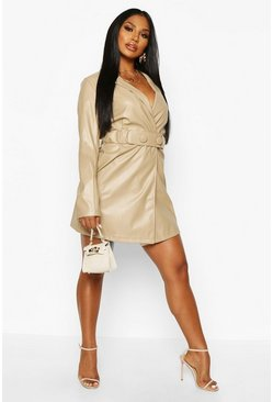 Nude PU Belted Wrap Over Blazer Dress