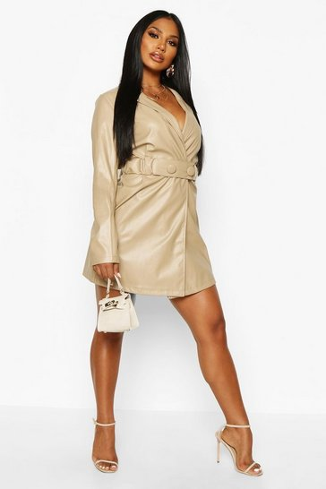 Womens Nude PU Belted Wrap Over Blazer Dress
