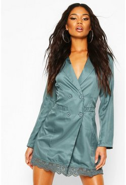 Womens Teal Lace Trim Button Down Blazer Dress