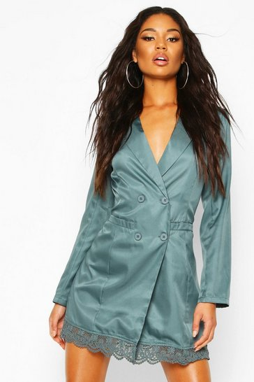 Teal Lace Trim Button Down Blazer Dress