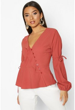 Womens Rust Button Front Tie Detail Tailored Blouse