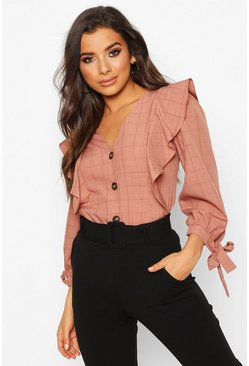 Womens Blush Check Button Down Ruffle Blouse