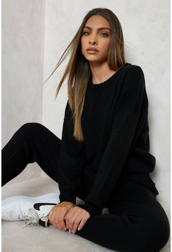 Womens Black Knitted Jumper & Jogger Co-ord