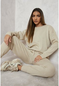 Ecru Knitted Jumper & Jogger Co-ord