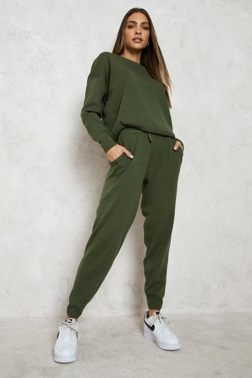 Womens Khaki Knitted Jumper & Jogger Co-ord