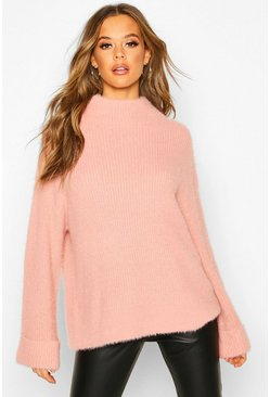 Antique rose Turn Up Cuff High Neck Fluffy Sweater