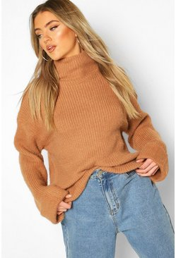 Camel Turn Up Cuff High Neck Fluffy Jumper
