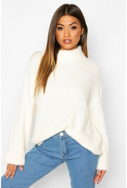 Cream Turn Up Cuff High Neck Fluffy Jumper