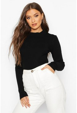 Womens Black Turtle Neck Knitted Crop Top
