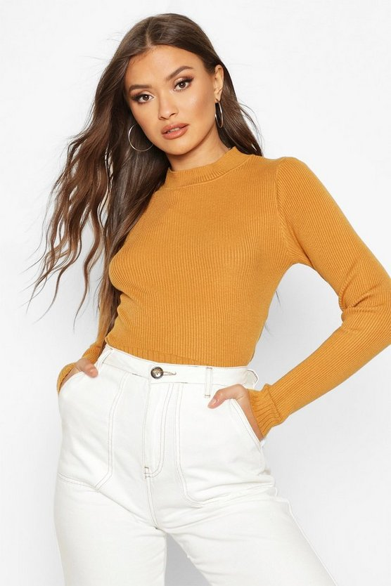 Turtle Neck Knitted Crop Top