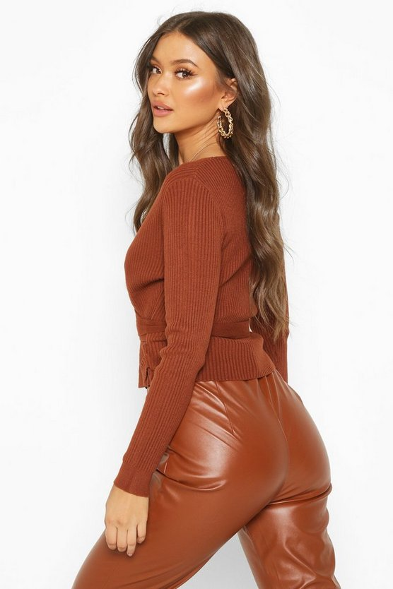 Wrap Front Belted Knitted Top