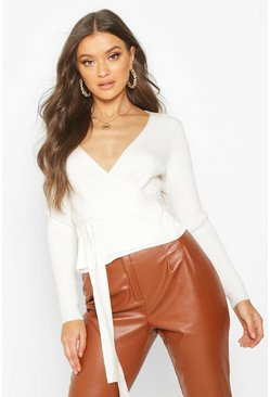 Ecru Wrap Front Belted Knitted Top