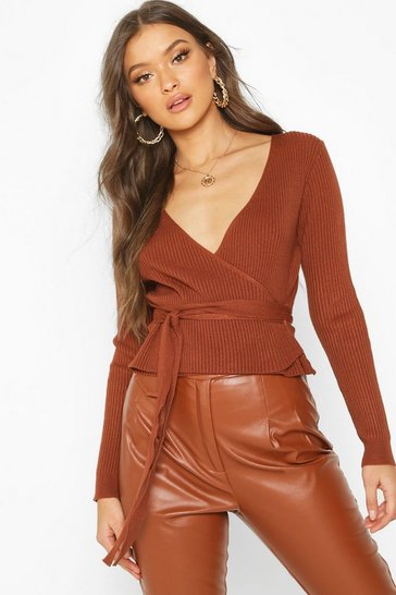 Terracotta Wrap Front Belted Knitted Top
