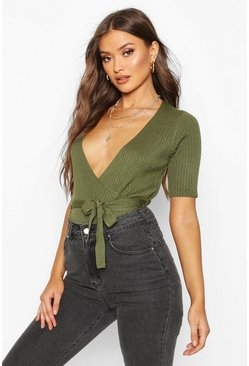 Olive Wrap Front Knitted Short Sleeve Top