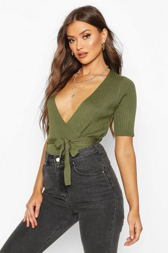 Wrap Front Knitted Short Sleeve Top