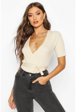 Sand Wrap Front Knitted Short Sleeve Top