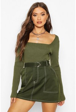 Olive Square Neck Knitted Long Sleeve Top