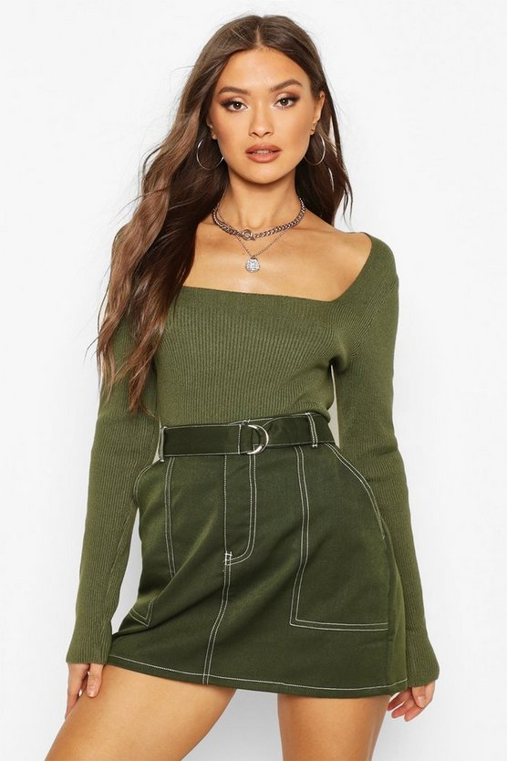 Square Neck Knitted Long Sleeve Top