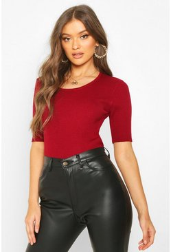 Womens Berry Scoop Neck Half Sleeve Knitted Crop Top