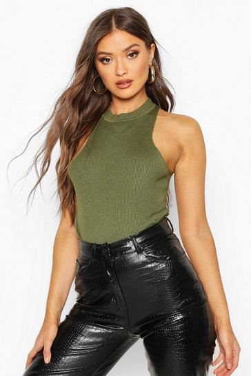 Womens Olive Racer Neck Rib Knit Top