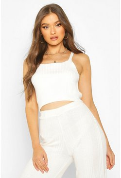 Womens Ecru Rib Knit Strappy Crop Top
