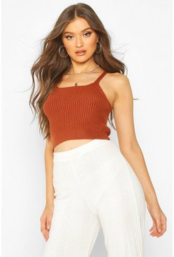 Womens Terracotta Rib Knit Strappy Crop Top