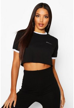 Womens Black Embroidered Woman Script Crop Ringer