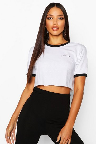 Womens White Embroidered Woman Script Crop Ringer