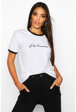 Womens White Embroidered Woman Ringer T Shirt