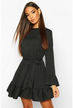 Womens Black Woven Spot Ruffle Skater Dress
