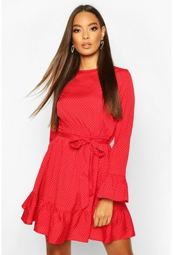 Womens Red Woven Spot Ruffle Skater Dress