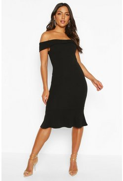 Black Off The Shoulder Bow Detail Midi Dress